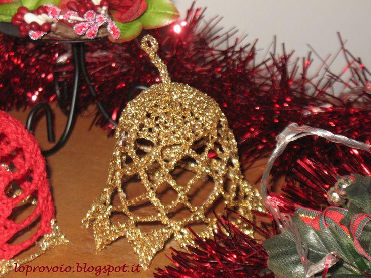 Campanella natalizia all'uncinetto.Campana navideña de ganchillo,Crochet...