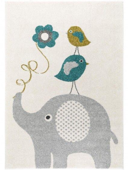 Kinderteppich Fantasia Birdies and Elephant Blau
