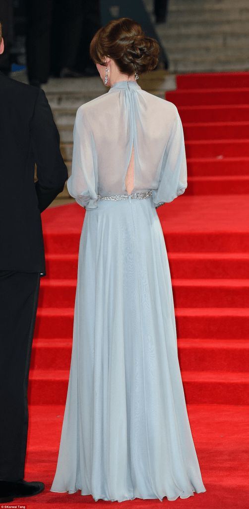 10 Duchess of Cambridge goes in pale blue floor-length Jenny Packham gown and diamond accessories at the world premiere of Spectre