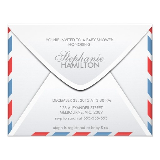 Baby Shower Through Mail ~ Air mail envelope baby shower