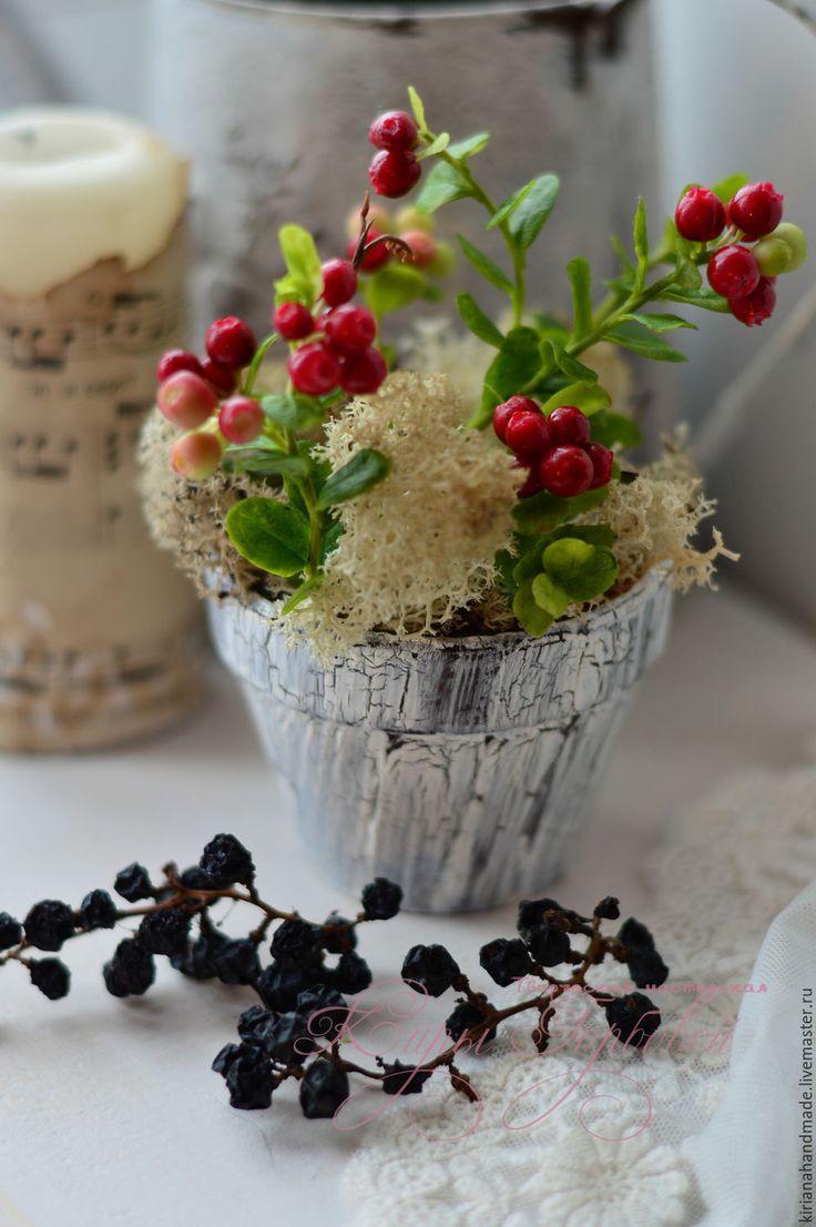 Купить Брусника из полимерной глины - Новый Год, для дома, подарок, Декор, Холодный фарфор