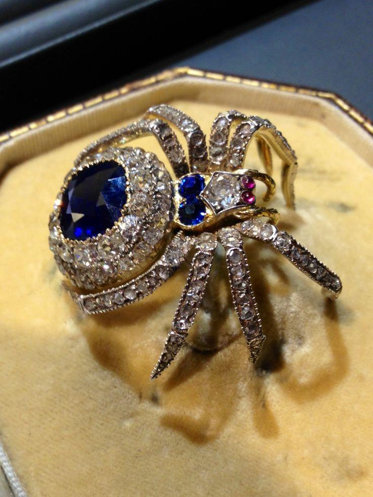 Victorian Sapphire  Diamond Spider brooch