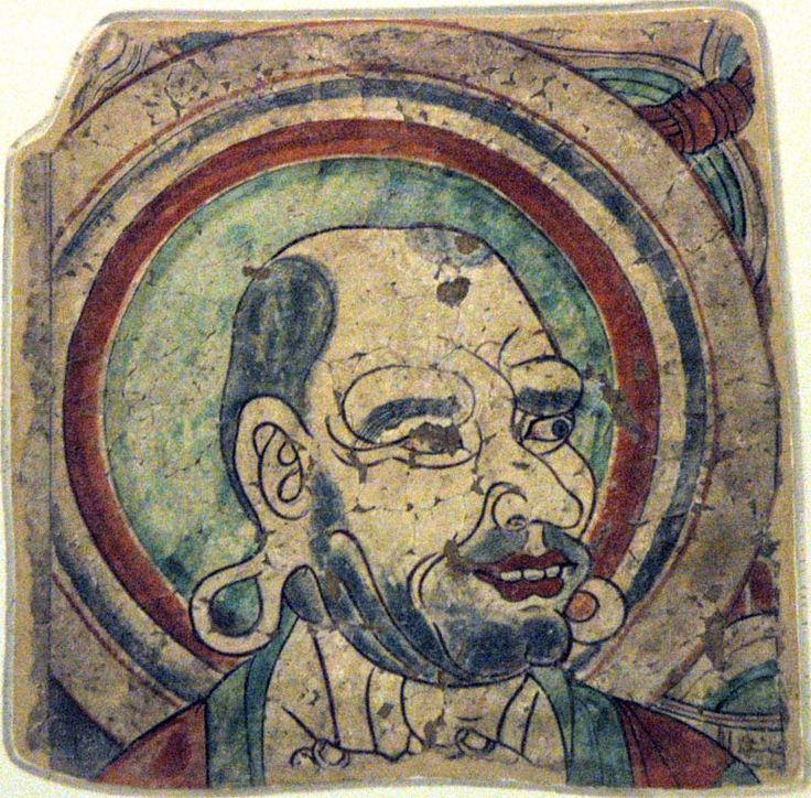 A monk - Bezeklik, Cave 4. 14C date: 1031-1161. Wall painting. 41 x 39.5 cm. MIK III 8726