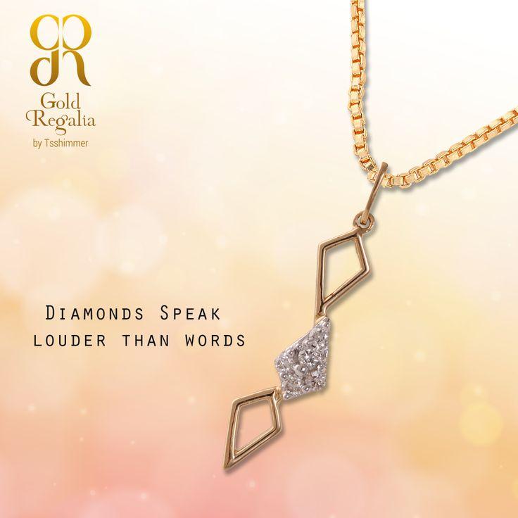 Diamonds Speak Louder Than Words. Visit for your Diamond Pendant : ttps://goo.gl/7zzg9k #Pendants #Ring #Bracelets #GoldJewelry #Classyjewelry
