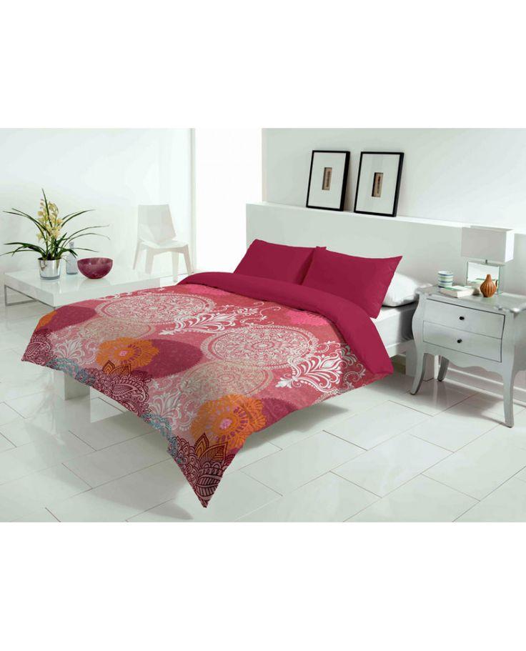 Bonita funda nórdica con estampado rosa con mandalas. Dos colores a elegir. Llena tu habitación de alegría. Los mejores precios en fundas en Revitex textil hogar