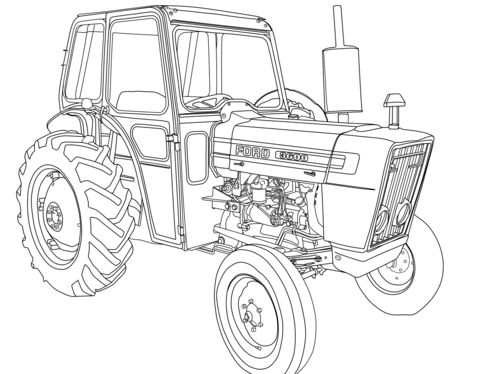 Tractor Ford 3600 Coloring Page Coloring Pages Kids Coloring
