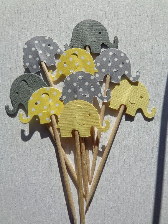 Hey, I found this really awesome Etsy listing at https://www.etsy.com/listing/115502961/24-grey-and-yellow-elephant-party-picks