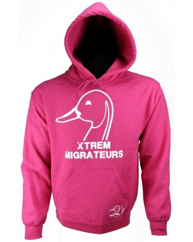 Sweat femme à capuche Xtrem Migrateurs rose : Un pull chaud et confortable pour la chasse ou pour vous accompagner pendant vos loisirs. Un accessoire idéal et indispensable pour les femmes amoureuses des migrateurs.