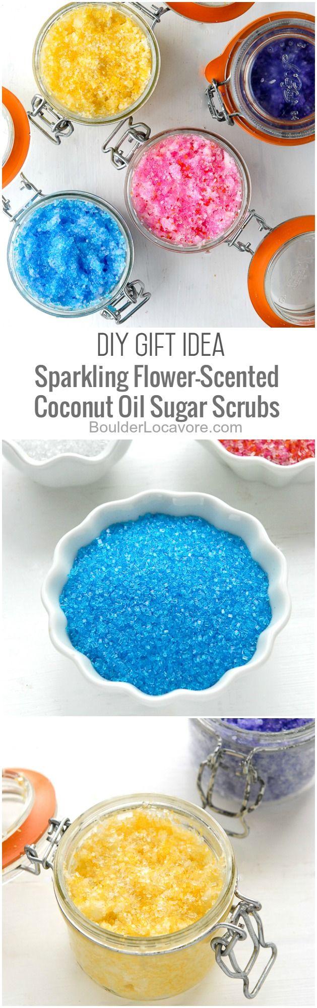 DIY Gift Idea: Sparkling Flower-Scented Coconut Oil Sugar Scrubs | Boulder Locavore