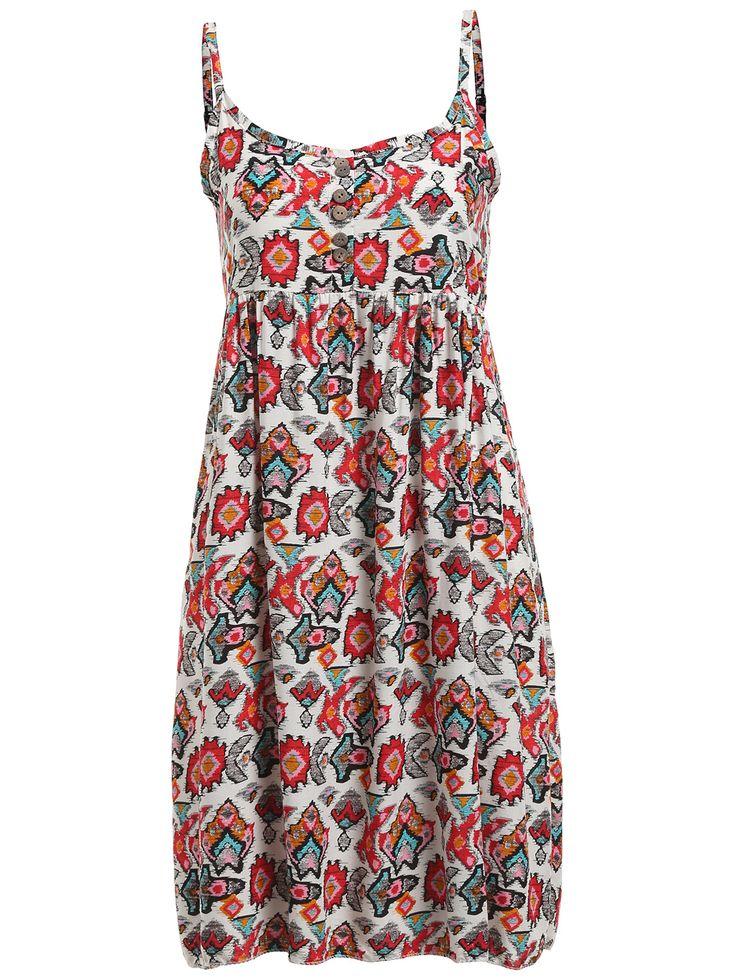 SheIn Aztec Print Buttons Cami Dress