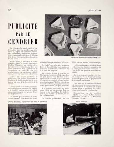 1956-Article-Ashtray-Advertising-Opalex-A-Louard-Marketing-Smoking-Accessory