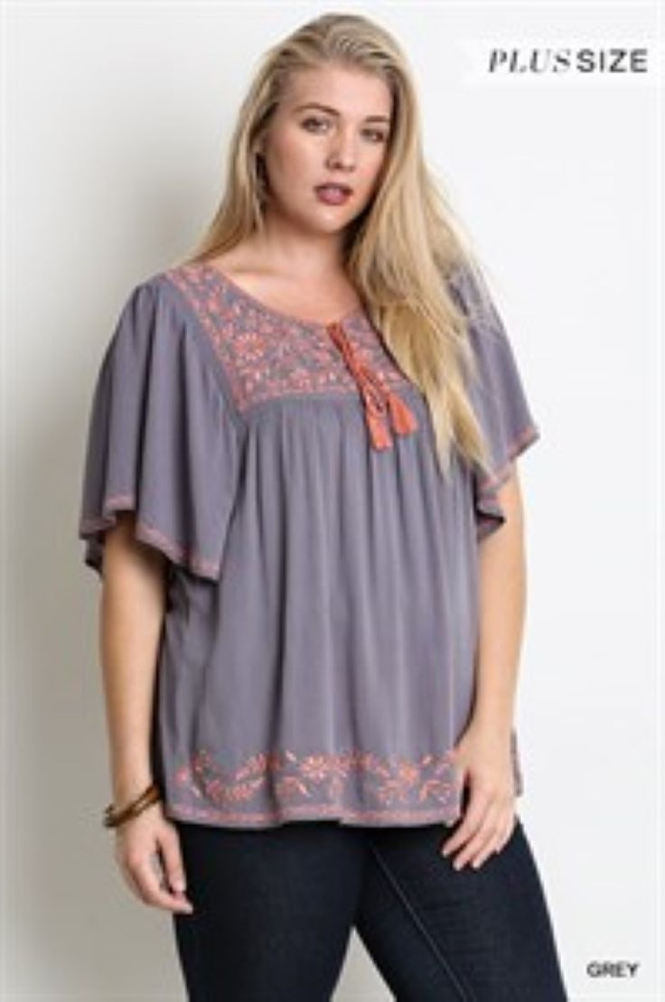 Plus Grey Short Sleeve Top with Embroidery Detail