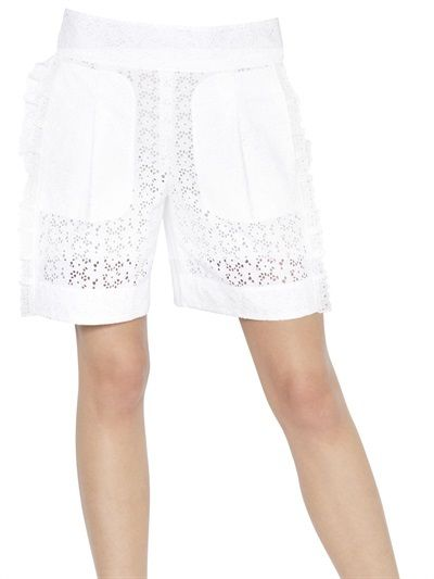 $545, Nina Ricci Cotton San Gallo Laced Shorts. Sold by LUISAVIAROMA. Click for more info: https://lookastic.com/women/shop_items/7567/redirect