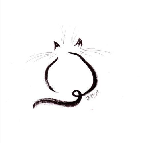 Dessin Original Chat Signé Encre Ink Drawing Cat Painting Peinture Gatto Katze