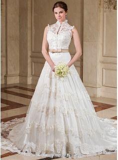 Forme Princesse Col montant Traîne chappelle Organza Satiné Robe de mariée avec Plissé Dentelle Ceintures Emperler Sequins À ruban(s)