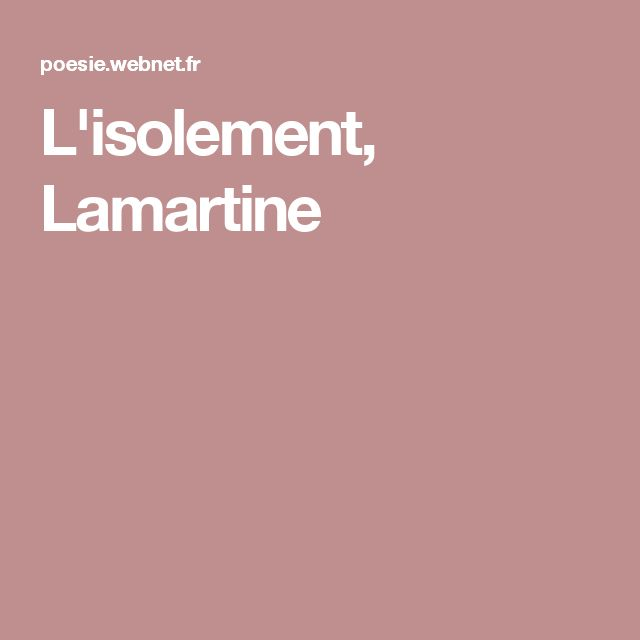 L'isolement, Lamartine
