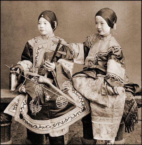 Vintage Photographs of Pre-Revolution China, 1870-1946 - Singing Girls, Hong Kong, China [c1901] Benjamin W. Kilburn Co.
