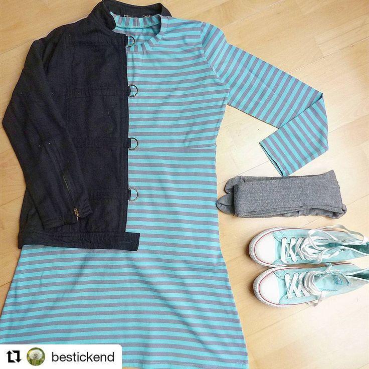 """(@rosa_p_kreativ) auf Instagram: """"@bestickend hat ein fröhlich geringeltes Kleid aus dem rosa p Buch #nähdirdeinkleid genäht und fein kombiniert. Buch über www.rosape.de"""