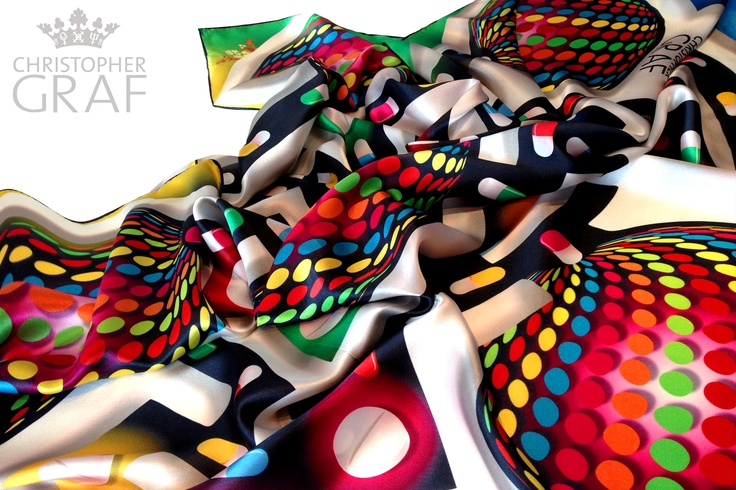 'BUBBLEKUNTZ'  Limited edition silk scarf.  Designed by CHRISTOPHER GRAF  www.christophergraf.com.au