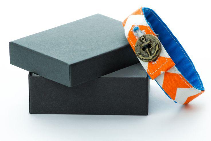 Material Anchor Bracelet -  Chevron Orange & White