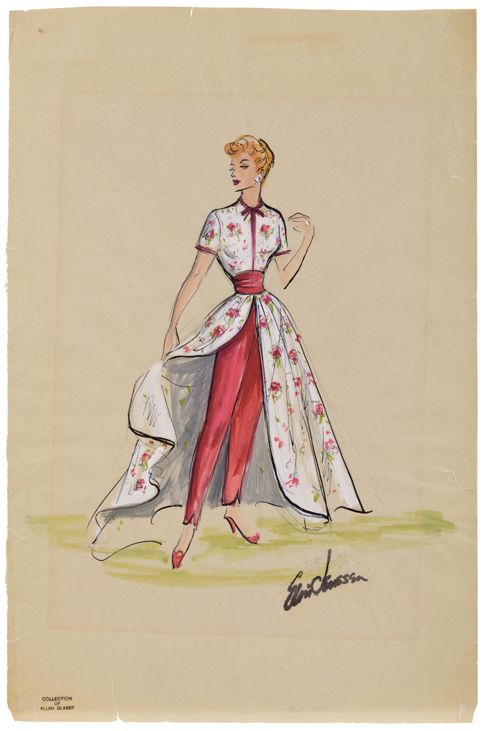 "Elois flower print dress with pants costume sketch for Lucille Ball in ""I love Lucy"". (Desilu, 1951 - 1957) Original Elois Jenssen costume sketch for Lucille Ball as ""Lucy"" in I Love Lucy. The sketch is accomplished in ink and gouache on 12 x 18 in. artist parchment leaf. Sketch features a white dress with red flower pattern, slit front exposing red slacks beneath. This dress was worn by Lucy in episodes: ""In Palm Springs"" and ""Ricky Needs an Agent"""