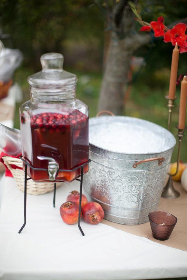 cranberry punch, fall wedding, backyard wedding
