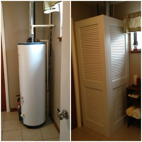 How to hide exposed water heater. Quick fix with louvered doors hinged together