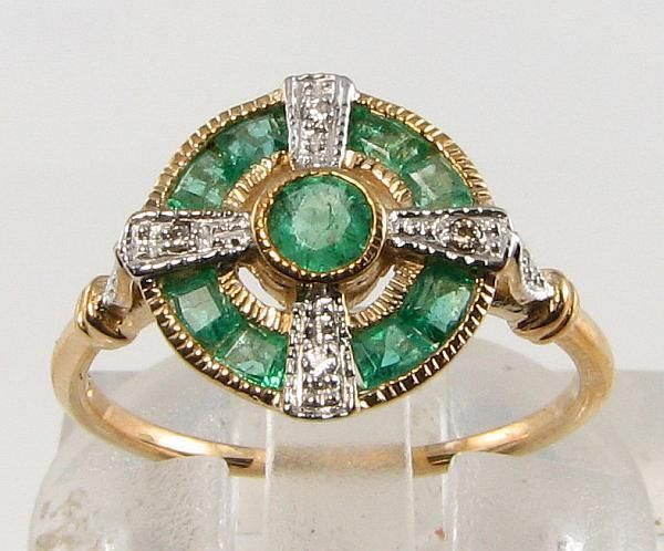 LOVELY 9CT GOLD COLOMBIAN EMERALD DIAMOND ART DECO RING | eBay!