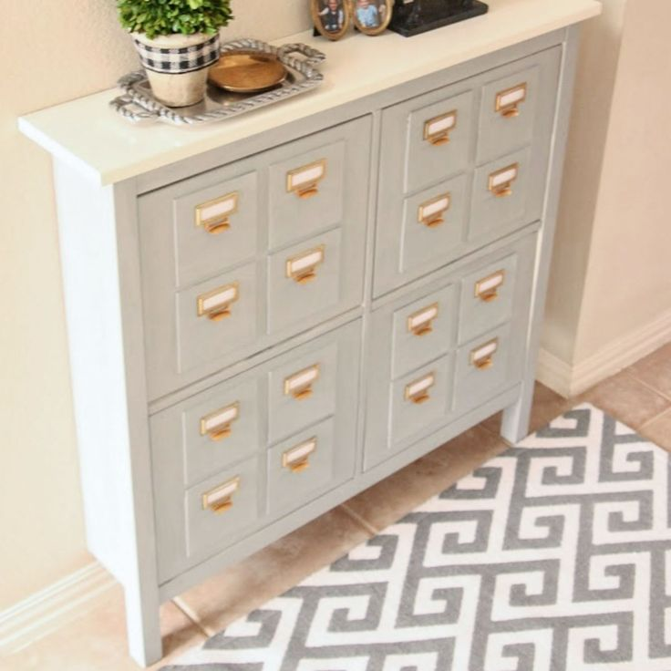 ikea shoe storage turned faux card catalog great ikea hack and cheap alternative for the