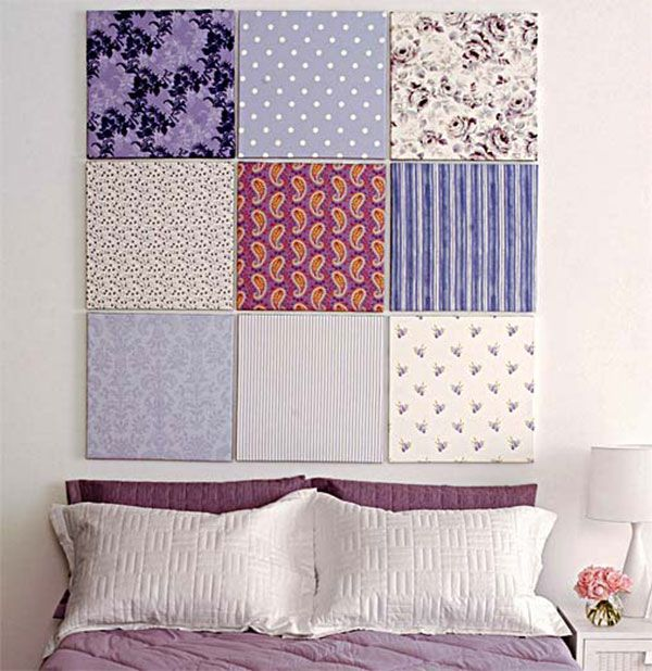 Quadrados cobertos com panos variados - Para a parede que está manchada...