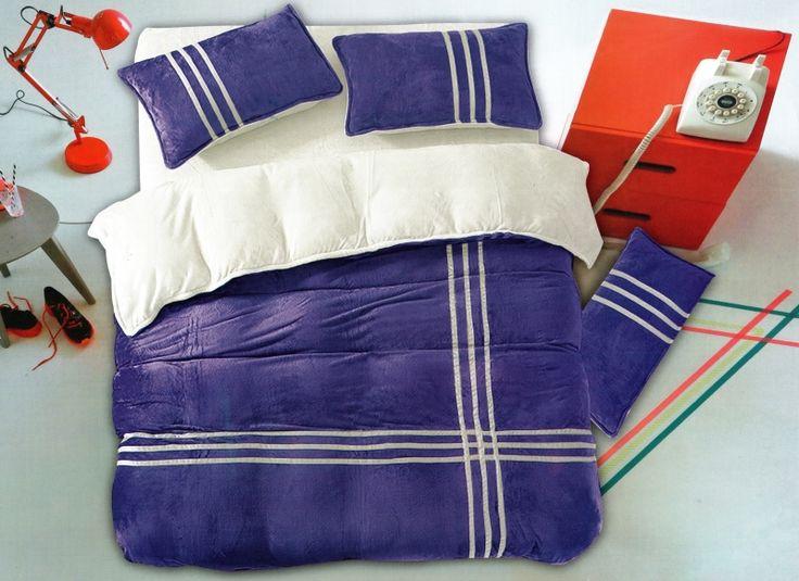 Posteľné obliečky modro bielej farby s pásikmi