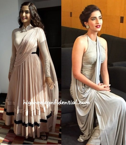 Sonam was seen in two Shantanu and Nikhil looks recently, once in a draped anarkali and once in a silver draped gown. While we don't have better pics of the latter look, it sure was striking. That is not to say we didn't like the anarkali look. She looked nice in it too. P.S. She …