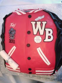 Two cakes done for a client whose twin sons were celebrating their high school graduation. Winder Barrow High School varsity letterman jacke...