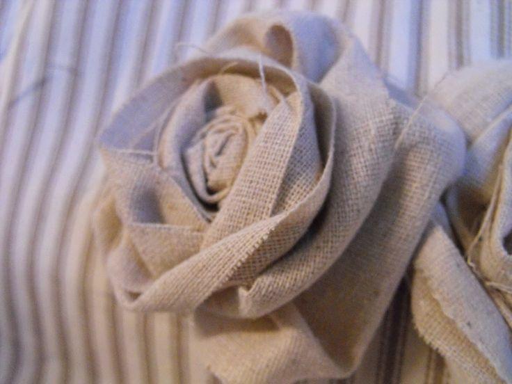 DIY Fabric Rosettes and More!: Fabric Roses, Susie Harris, Fabric Flowers, Diy Fabric, Burlap Roses, Burlap Rosette, Craft Ideas, Fabric Rosettes, Diy Burlap