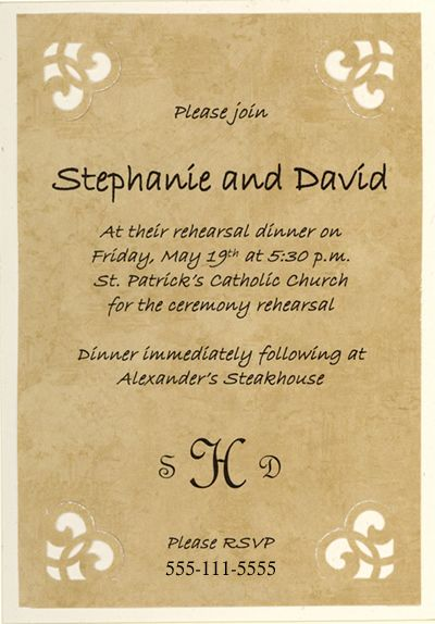 Free Printable Rehearsal Dinner And Event Invitation