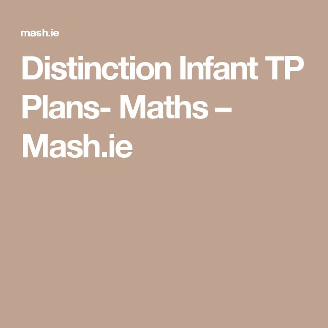 Distinction Infant TP Plans- Maths – Mash.ie