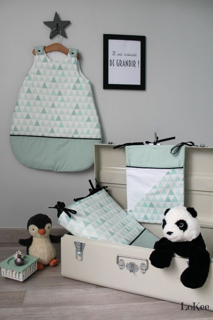 Gigoteuse et tour de lit mint avec tissu Kimsa. http://www.alittlemarket.com/boutique/lokee-1992787.html