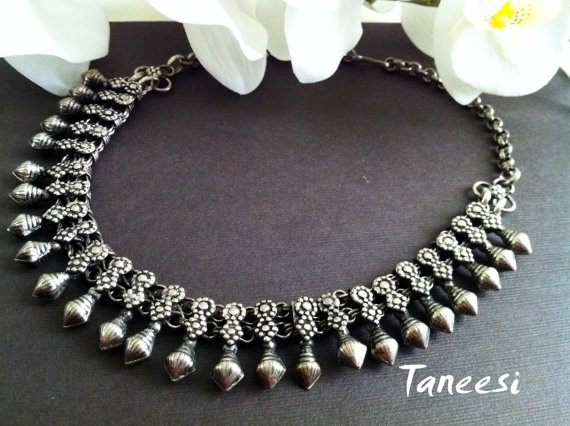 Temple art Silver Necklace Tribal Silver by OnlysilverbyTaneesi, $59.99