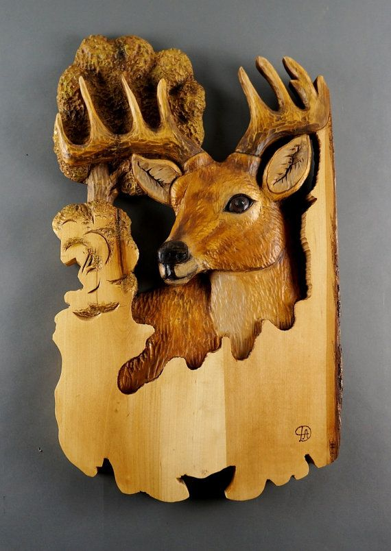 Deer Carved on Wood - Wood Carving - Linden Tree with Bark - for Deer lovers - Rustic OOAK Gift for a Hunter - Cabin Decor US$360.50  by DavydovArt, based in Canada and selling on Etsy. Hand-carved with chisels and knives.