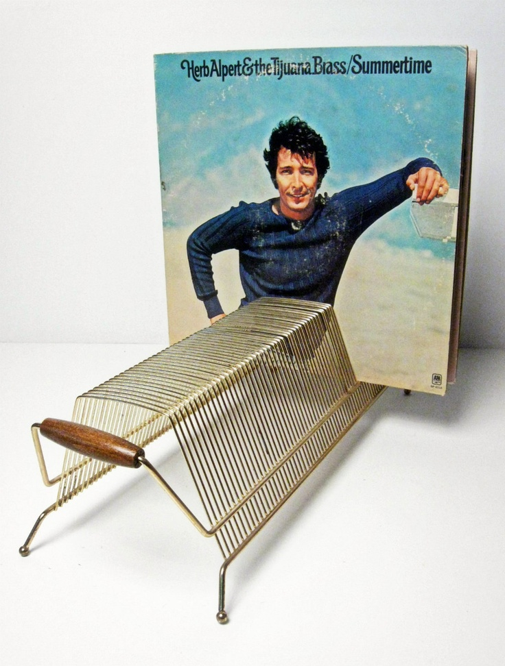 vintage brass with wood handles record holder - storage rack - holds 60 LPs - 1960s - $30.00