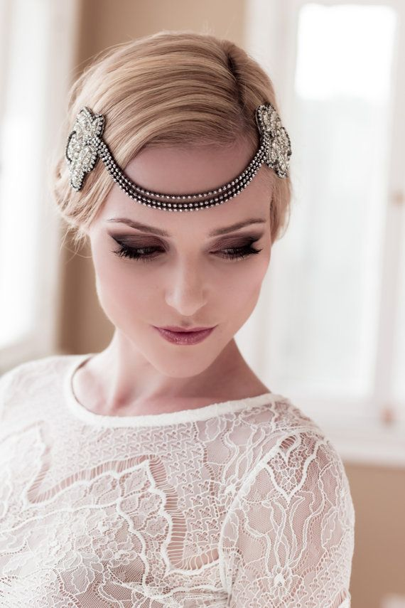 Art Deco Bridal Headpiece with Vintage Black or Silver, Hand-embellished Rhinestone & Seed Bead Leaf Headdress, Style: Dahlia #1405 on Etsy, $229.00