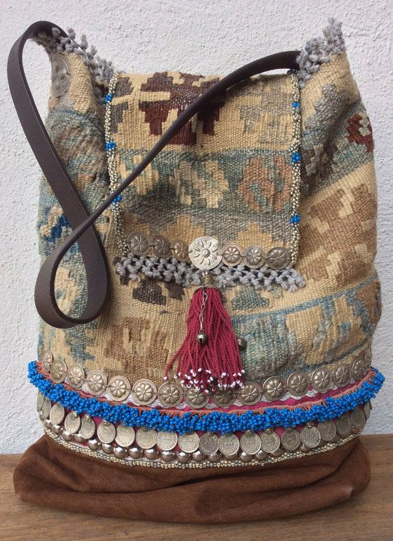 Handmade tribal kelim bag by KussenvanPaula on Etsy