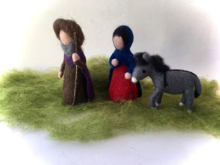 Weihnachtsfiguren - Die Heilige Familie,Esel.Krippenfiguren.Gefilzt. - ein Designerstück von Filz-Art bei DaWanda