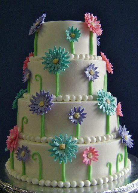 Gerbera Daisy Wedding Cake by ShellyCakes, via Flickr