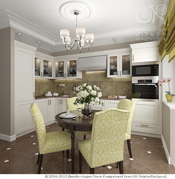 3D дизайн кухни-столовой с элементами ар-деко и неоклассики - http://www.ok-interiordesign.ru/ph17_kitchen_interior_design.php