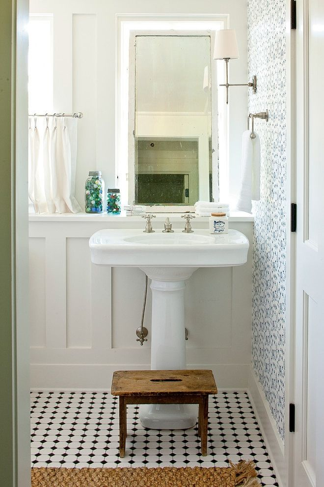 ... Decorating Ideas For Handsome Bathroom Farmhouse Design Ideas With  Antique Stool BLACK AND WHITE FLOOR Cafe Curtain Farmhouse Pedestal Sink  Renovation