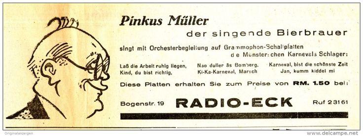 Original-Werbung/ Anzeige 1939 – PINKUS MÜLLER SCHALLPLATTEN / RADIO ECK – MÜNSTER – ca. 235 x 80 mm (Artikelnummer: #397549276)
