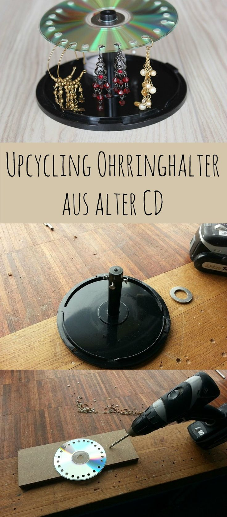 Upcycling aus alten CDs - Ohrringhalter #DIY #Upcycling Ohrringhalter #Schmuckaufbewahrung http://www.the-inspiring-life.com/2015/09/upcycling-fur-alte-cds-ohrringhalter.html