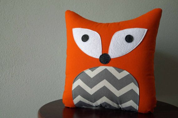 Chevron Fox Pillow  This sweet little fox has an orange cotton body with patterned belly, felt eyes (to make him safe for little ones), and a