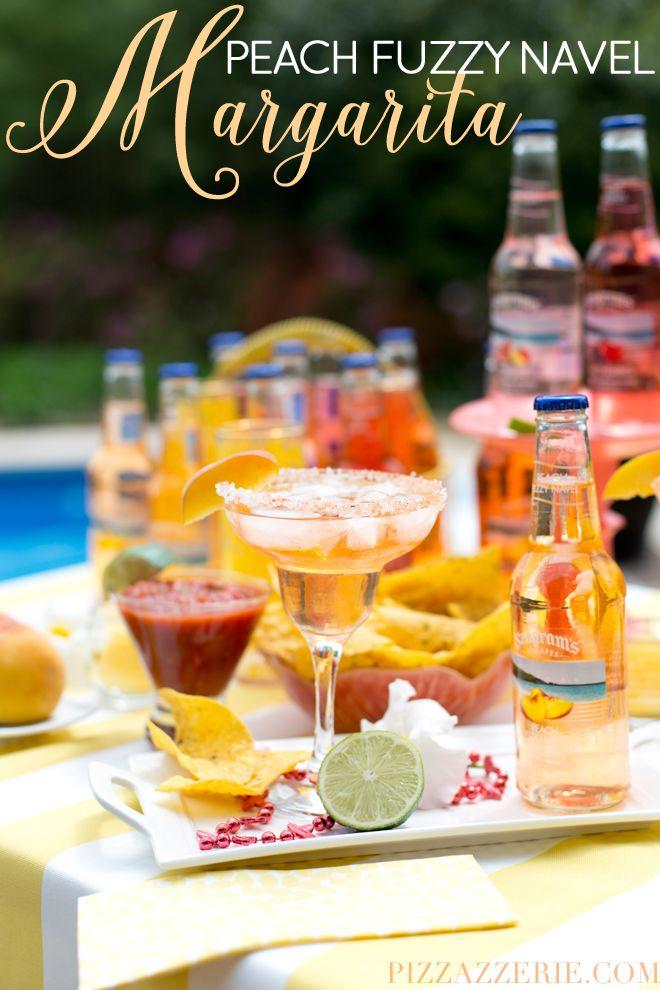 Peach Fuzzy Navel Margarita, delicious twist on the classic for Cinco de Mayo   Pizzazzerie.com